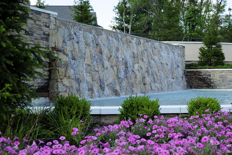 Four Seasons Manalapan Manalapan, New Jersey Water Feature Wall Commercial Pool Design by Omega Pool Structures, Inc