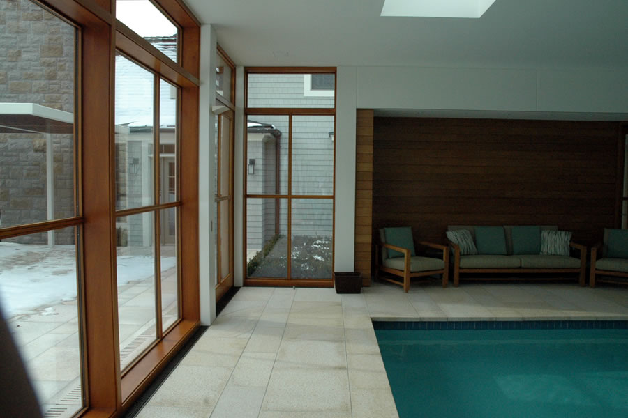 Contemporary Indoor Pool Boston, Massachusetts Residential Pool Design by Omega Pool Structures, Inc