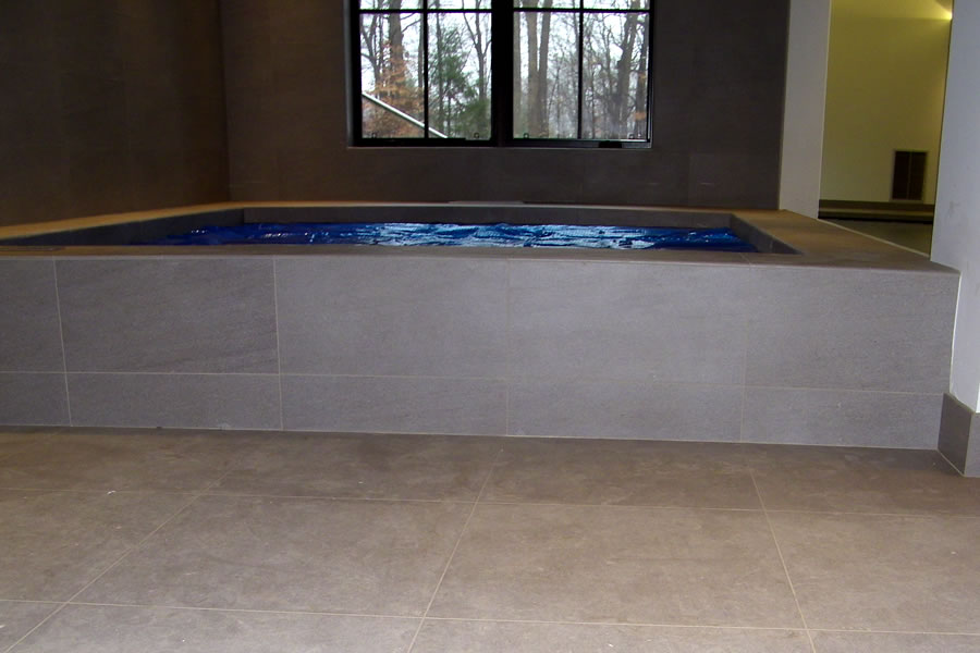 Indoor Lap Pool and Spa with Pool Cover Residential Pool Design by Omega Pool Structures, Inc