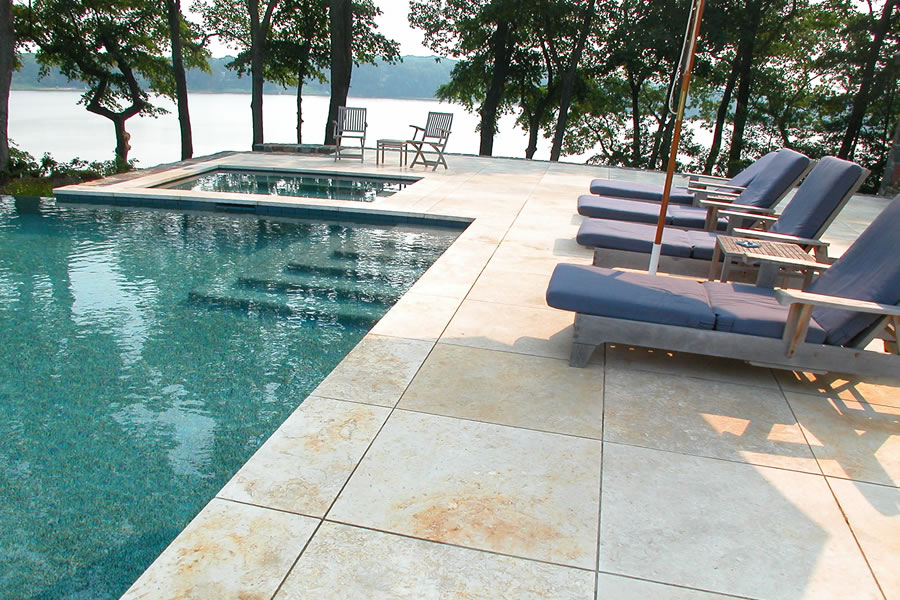 Vanishing Edge Outdoor Pool Brick, New Jersey Residential Pool Design by Omega Pool Structures, Inc